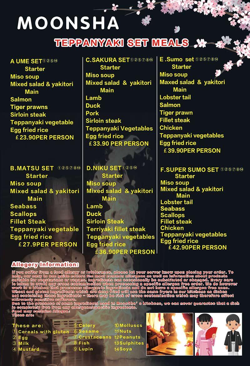 Download our Teppanyaki menu