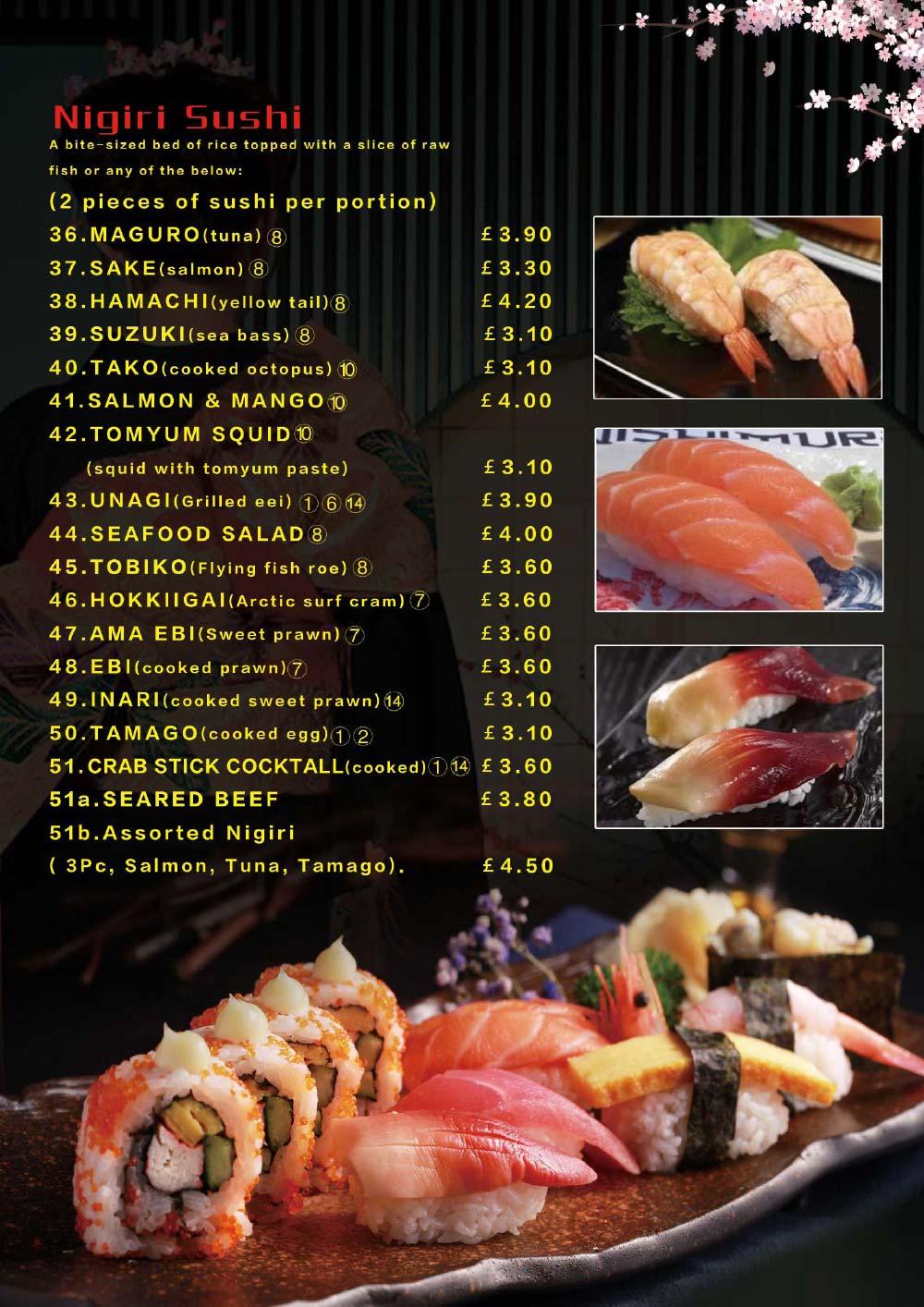 Sushi and Sashimi Menu